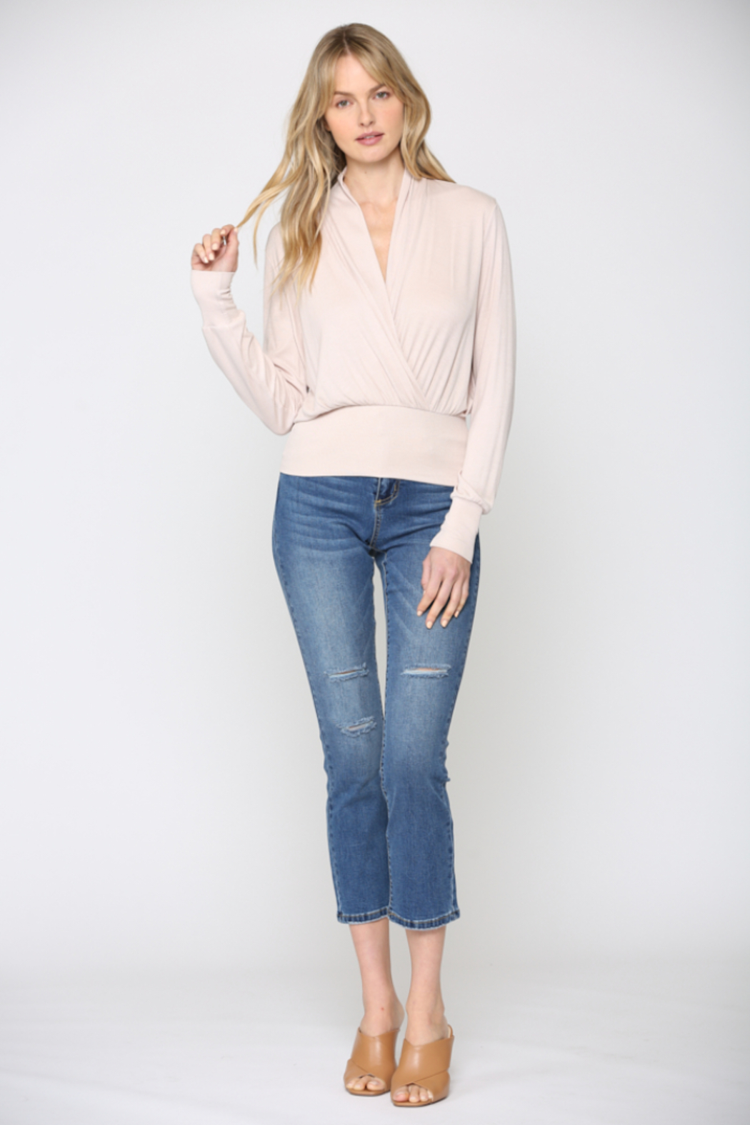 Fate Cozy Ribbed Surplice Top - Front Full Image