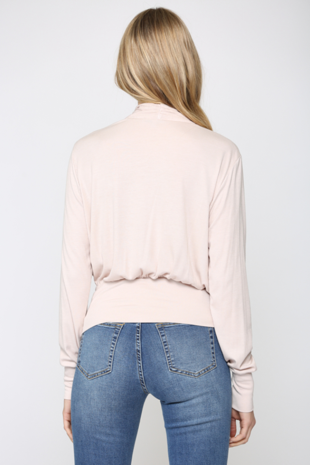 Fate Cozy Ribbed Surplice Top - Back Cropped Image