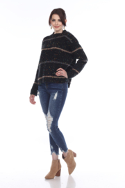 sisters Cozy Stripe Pullover - Front cropped