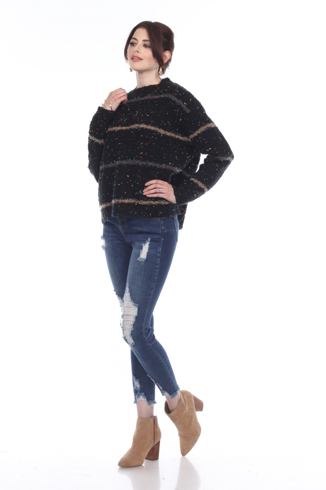 sisters Cozy Stripe Pullover - Side Cropped Image