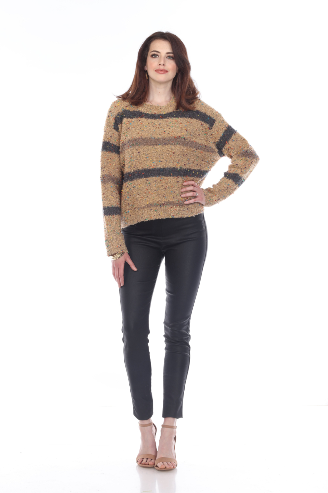 sisters Cozy Stripe Pullover - Front Cropped Image