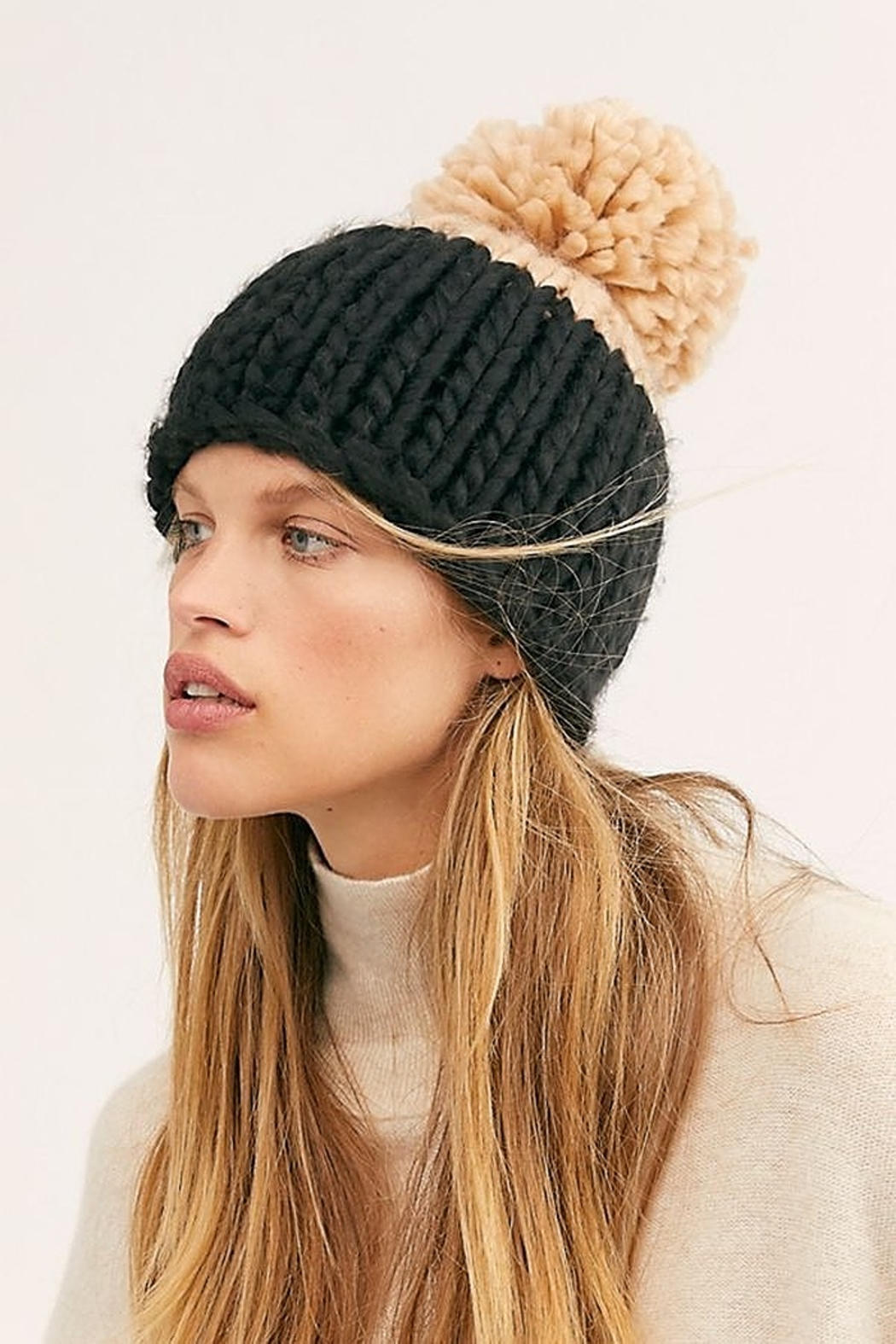 Free People Cozy Up Color Block Pom Beanie - Main Image