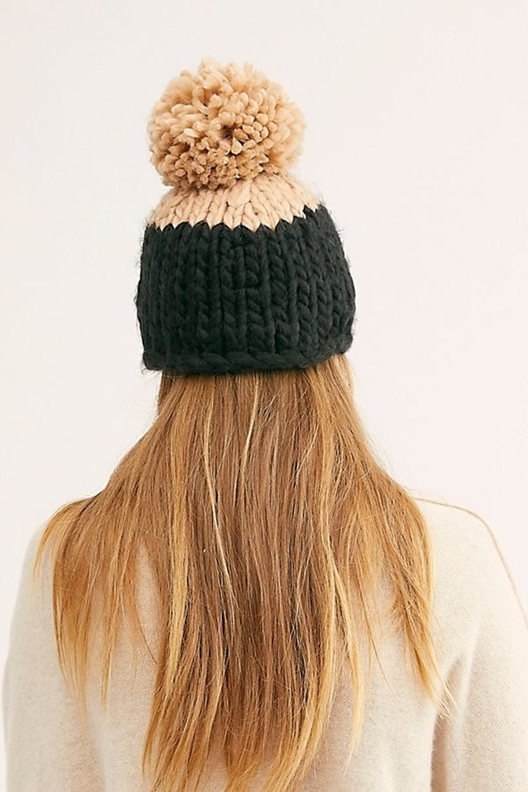Free People Cozy Up Color Block Pom Beanie - Front Full Image