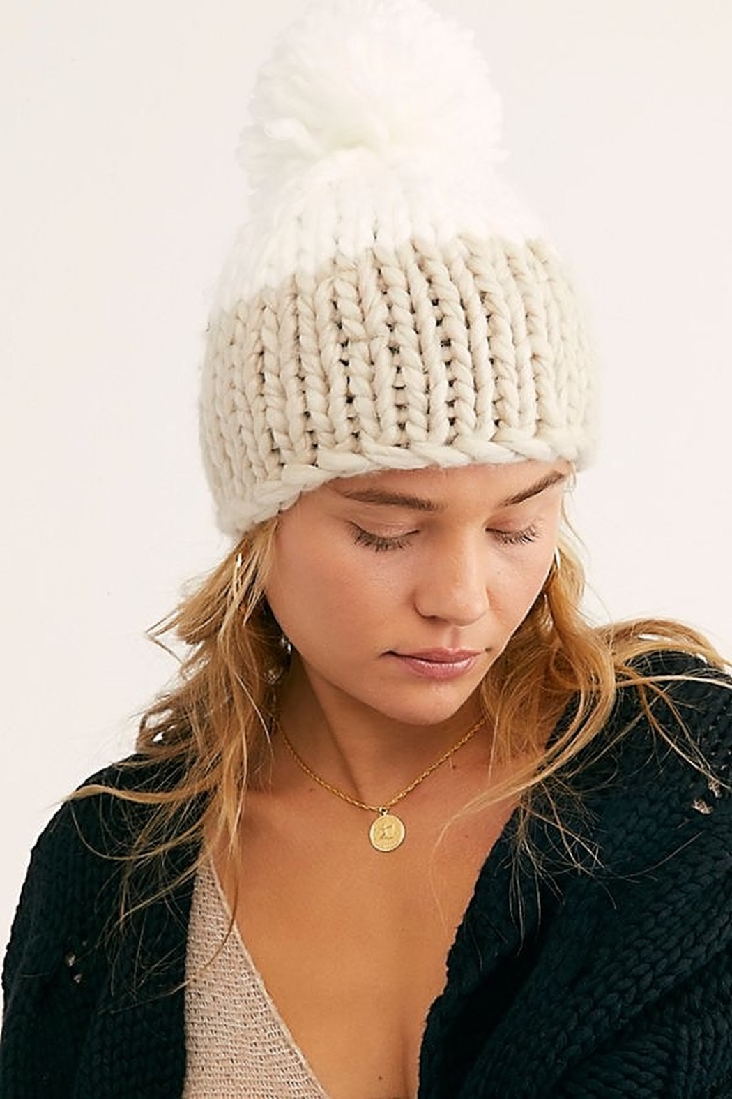 Free People Cozy Up Color Block Pom Beanie - Front Cropped Image