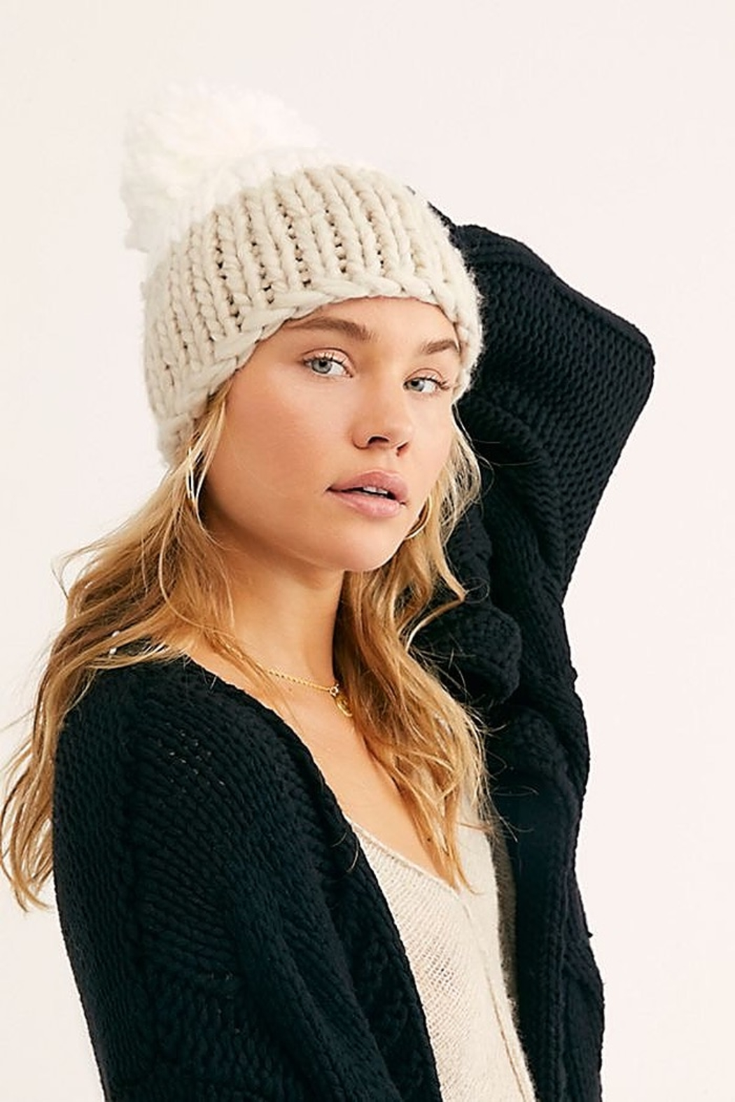 Free People Cozy Up Color Block Pom Beanie - Side Cropped Image