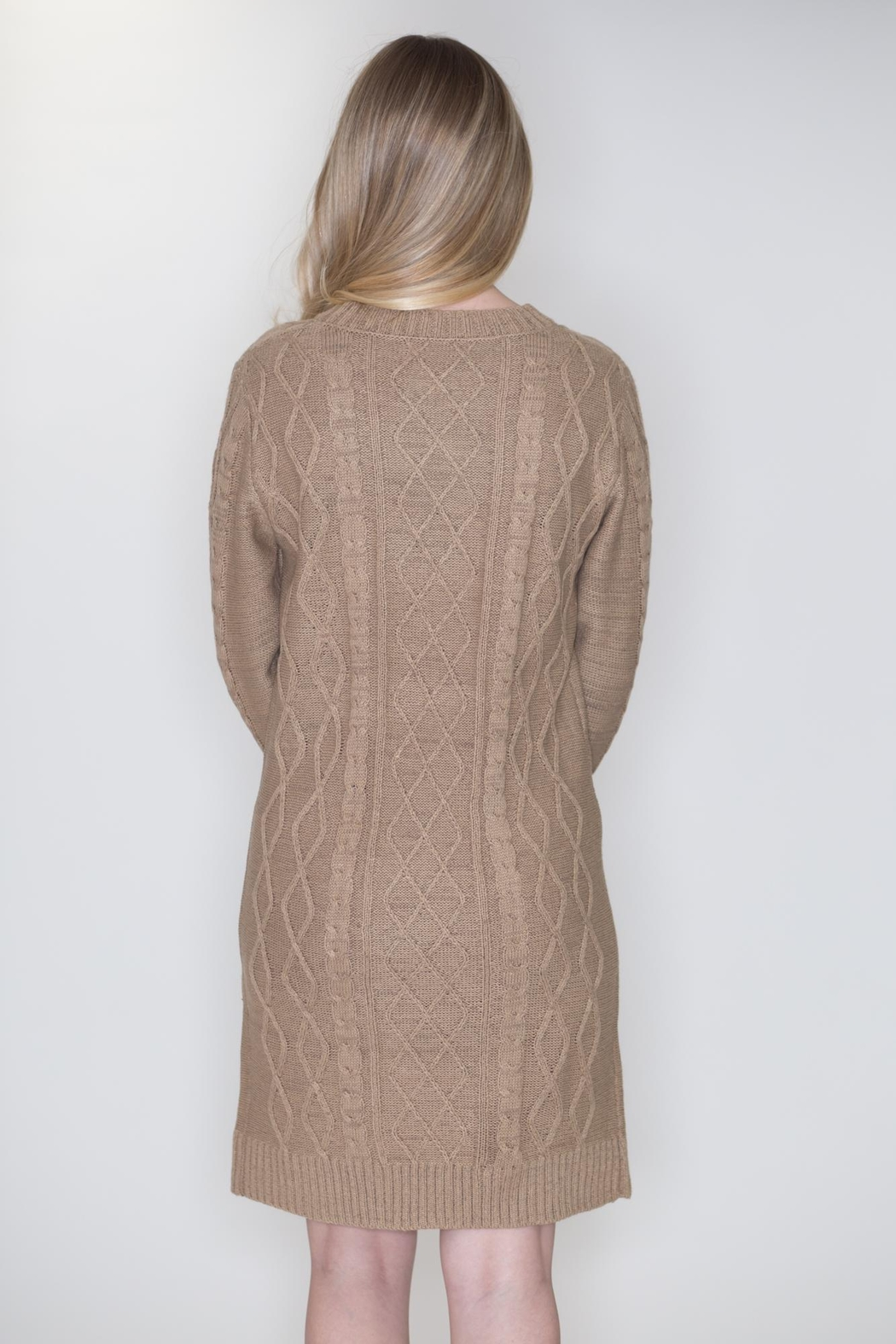 Cozy Casual Cable Knit Dress - Back Cropped Image