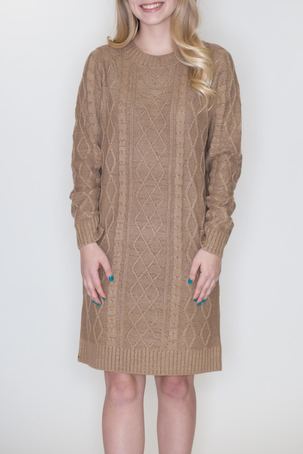 Cozy Casual Cable Knit Dress - Front Full Image