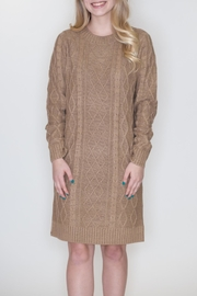 Cozy Casual Cable Knit Dress - Front full body