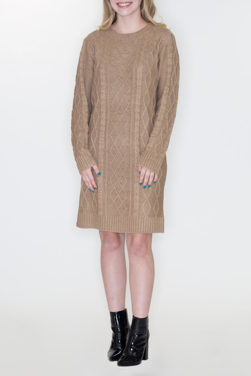 Cozy Casual Cable Knit Dress - Main Image