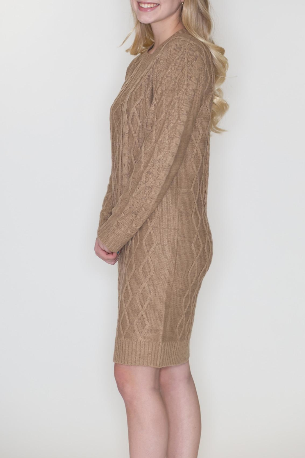Cozy Casual Cable Knit Dress - Side Cropped Image