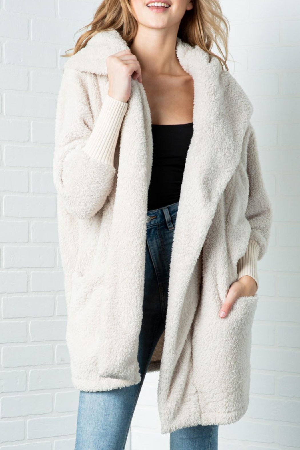 Cozy Casual Fluffy Faux Fur Jacket - Front Full Image