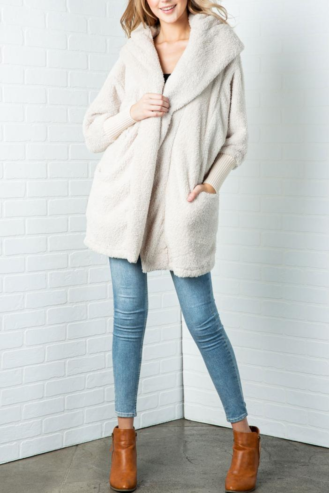 Cozy Casual Fluffy Faux Fur Jacket - Main Image