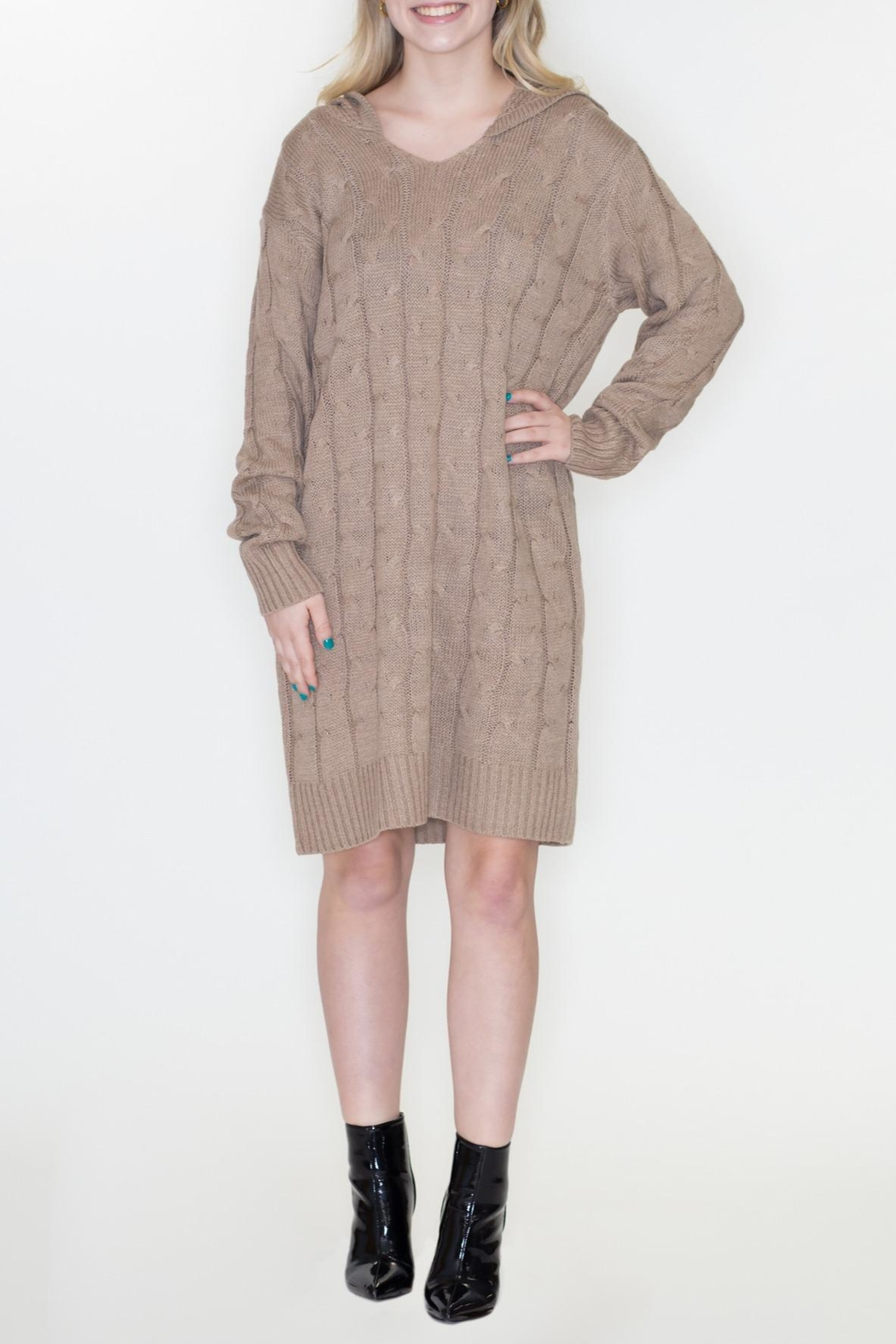 Cozy Casual Hoodie Sweater Dress - Main Image