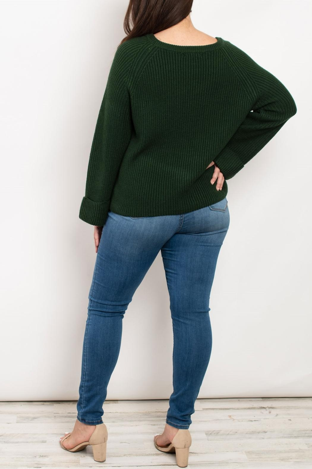 Cozy Casual Hunter Green Sweater - Front Full Image