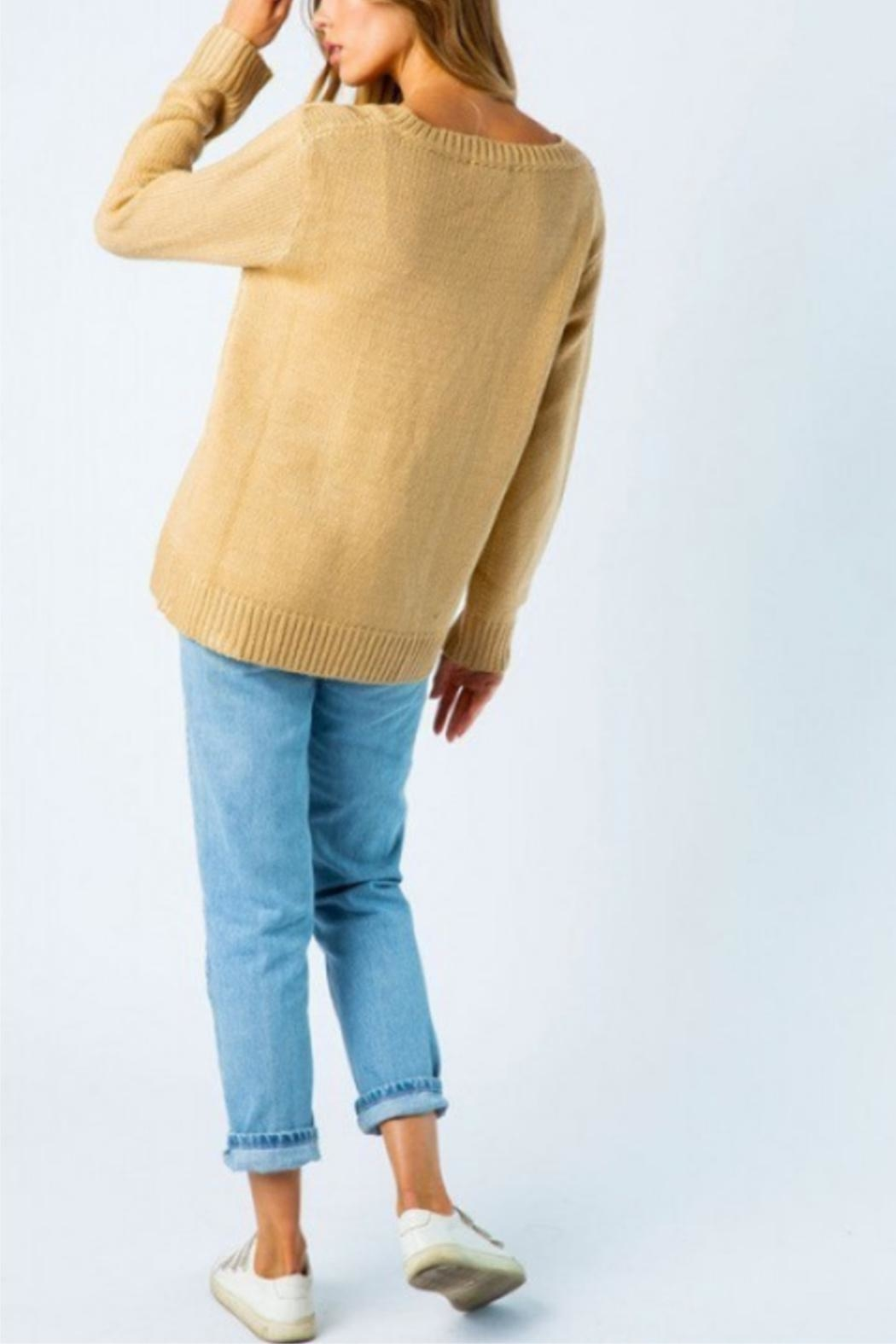 Cozy Casual Mixed Knot Sweater - Back Cropped Image
