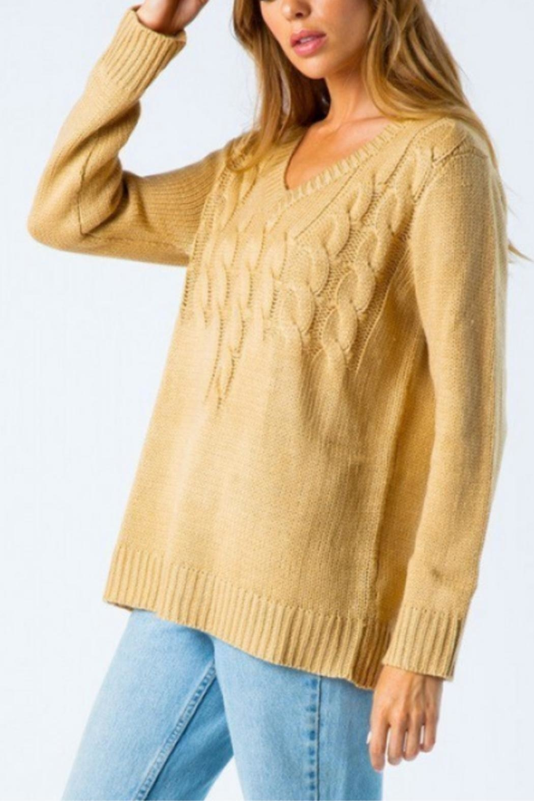 Cozy Casual Mixed Knot Sweater - Front Full Image