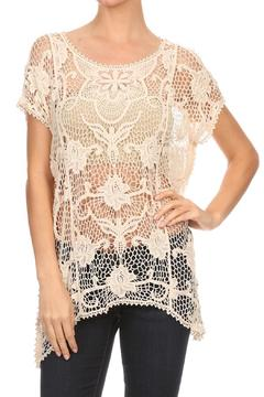 Cozy Casual Oatmeal Crochet Top - Product List Image