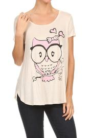 Cozy Casual Owl Print Top - Product Mini Image