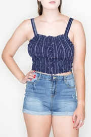 Cozy Casual Smocked Crop Top - Front cropped