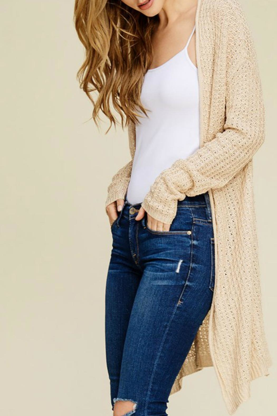 Cozy Casual Waffle Knit Cardigan - Front Full Image