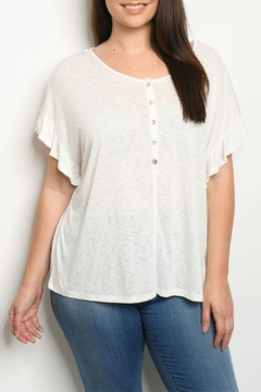 Cozy Casual White Ruffle Top - Product List Image