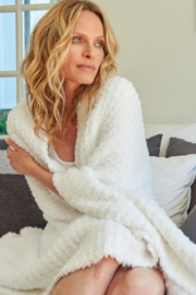 The Birds Nest COZYCHIC RIBBED THROW-WHITE - Front full body