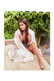 Barefoot Dreams COZYCHIC THROW-CREAM - Front cropped