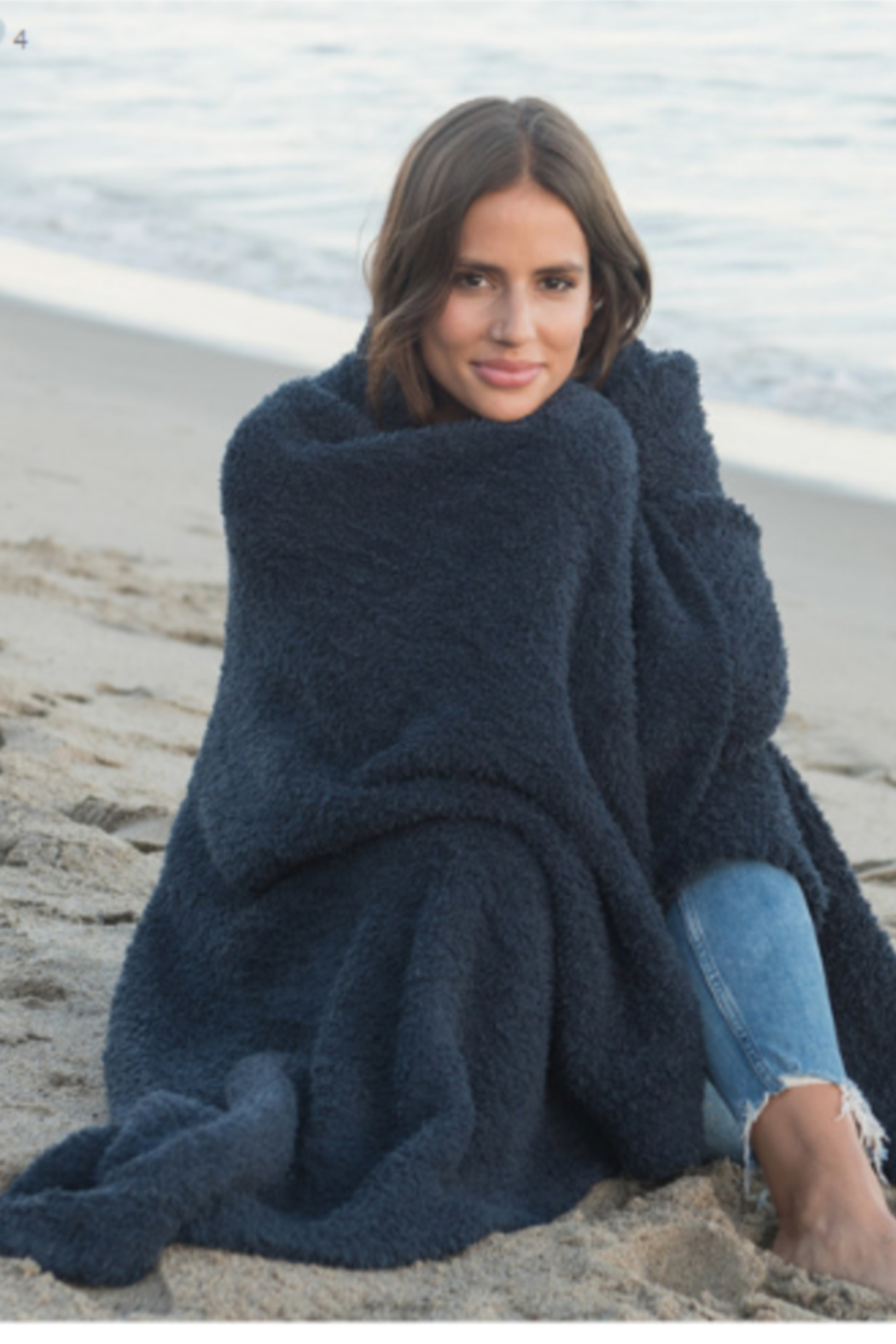 Barefoot Dreams COZYCHIC THROW - INDIGO - Front Cropped Image