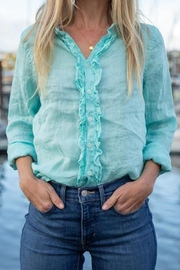 CP Shades Ruffle Front Aqua Linen Button Up - Product Mini Image