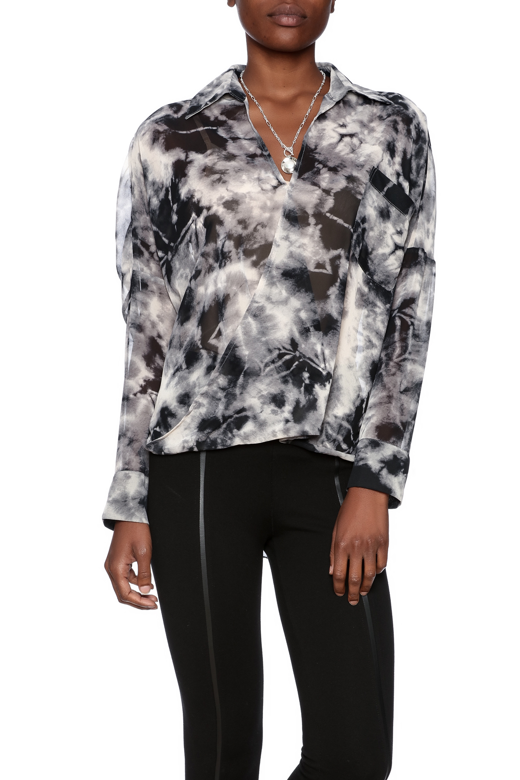 CQ By Caribbean Queen Smokey Cari Blouse - Front Cropped Image