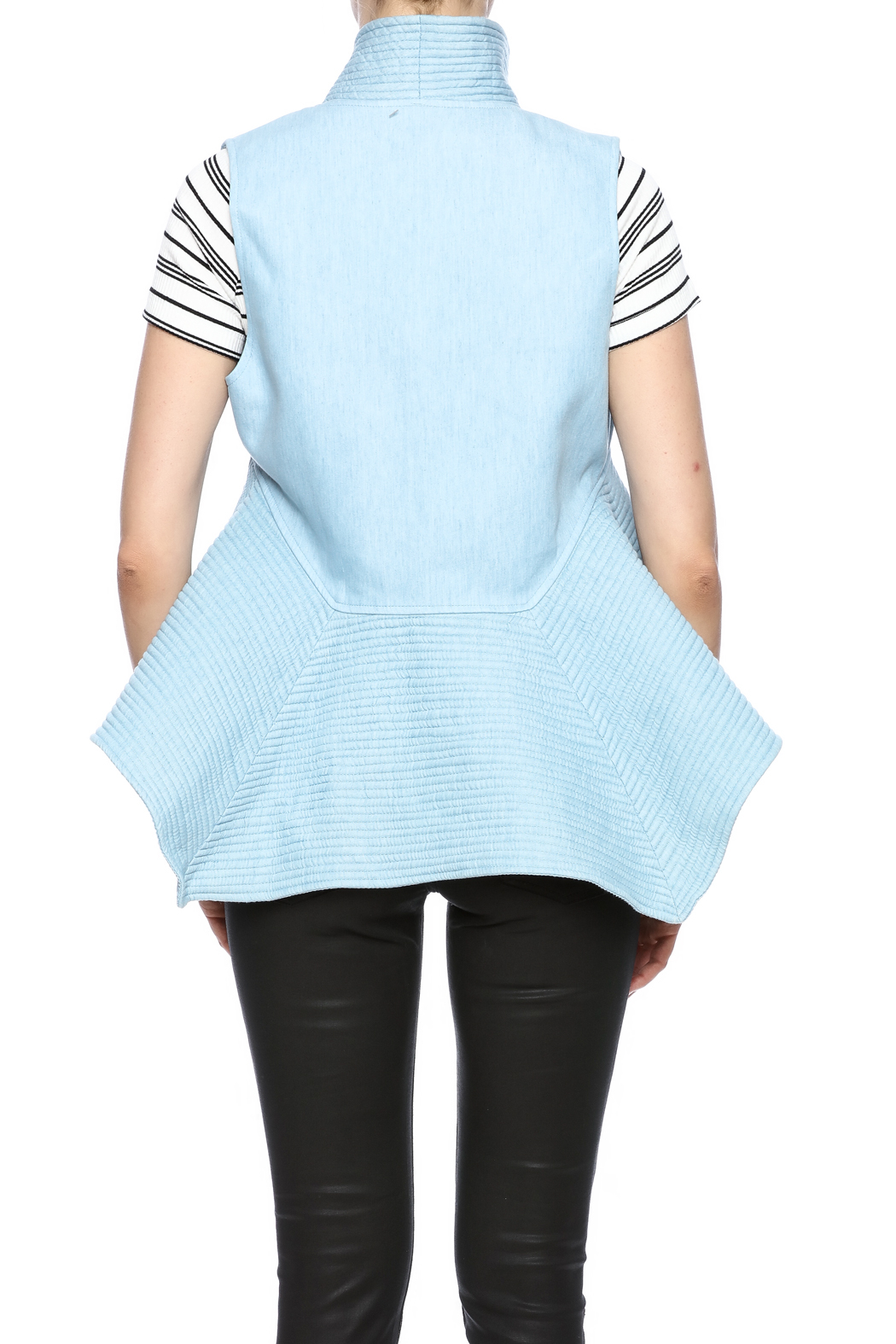 cq by cq Quilted Flare Vest - Back Cropped Image