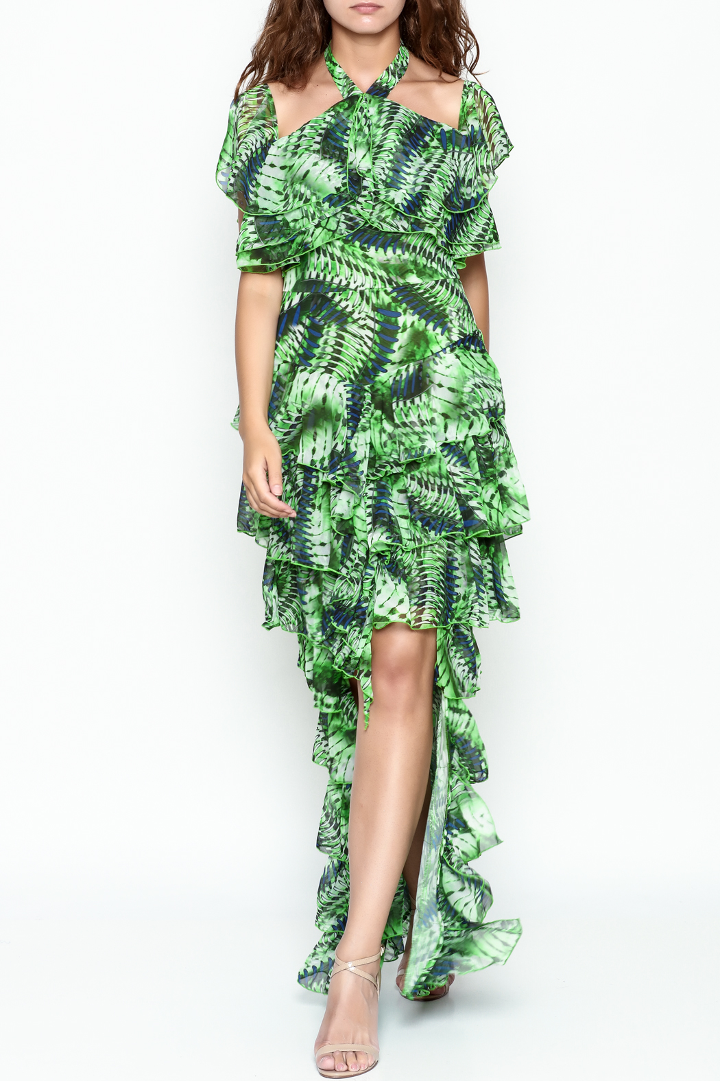 cq by cq Green Ruffle Dress - Front Cropped Image