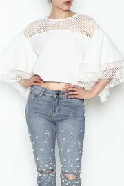 cq by cq White Netted Top - Front cropped