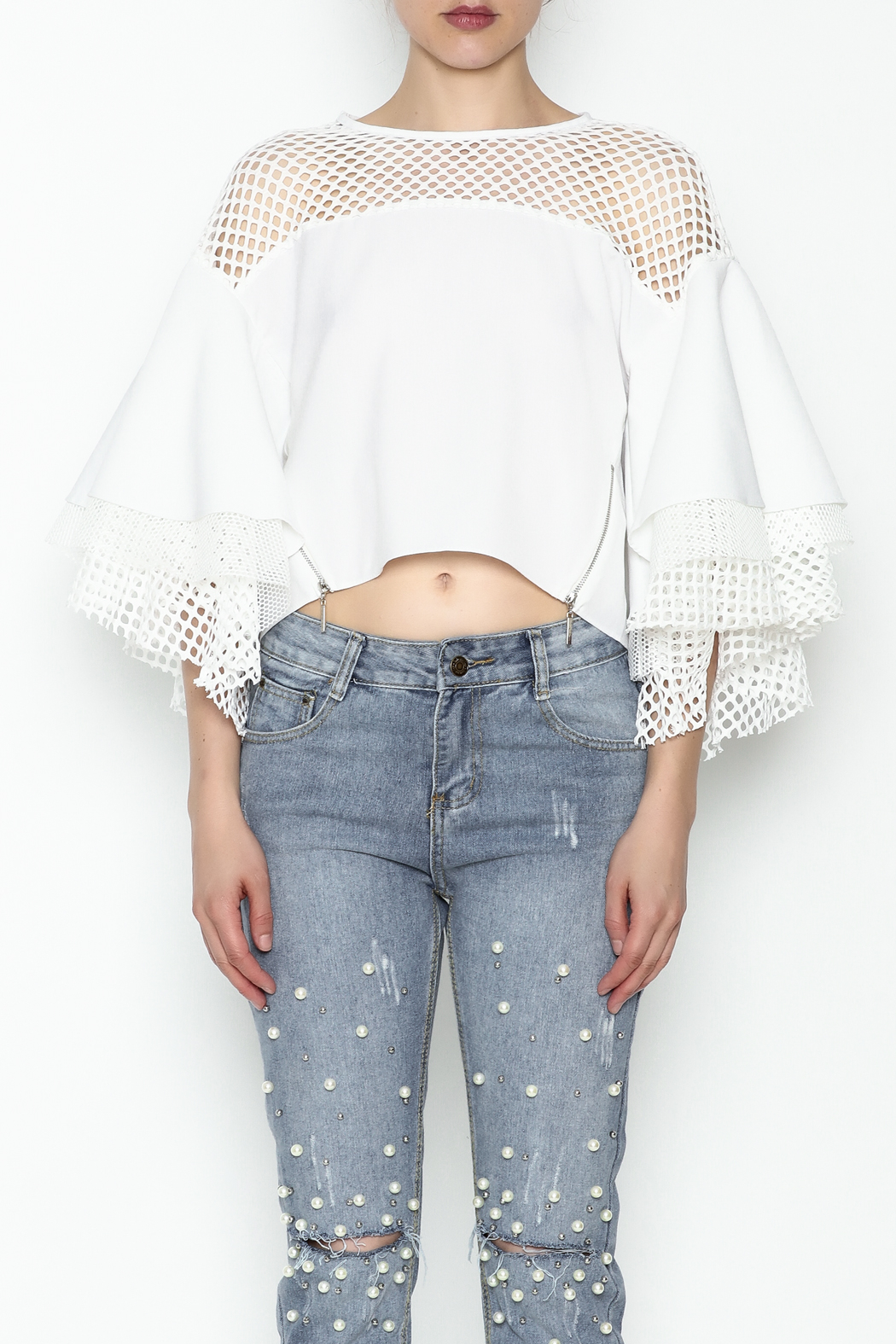 cq by cq White Netted Top - Front Full Image