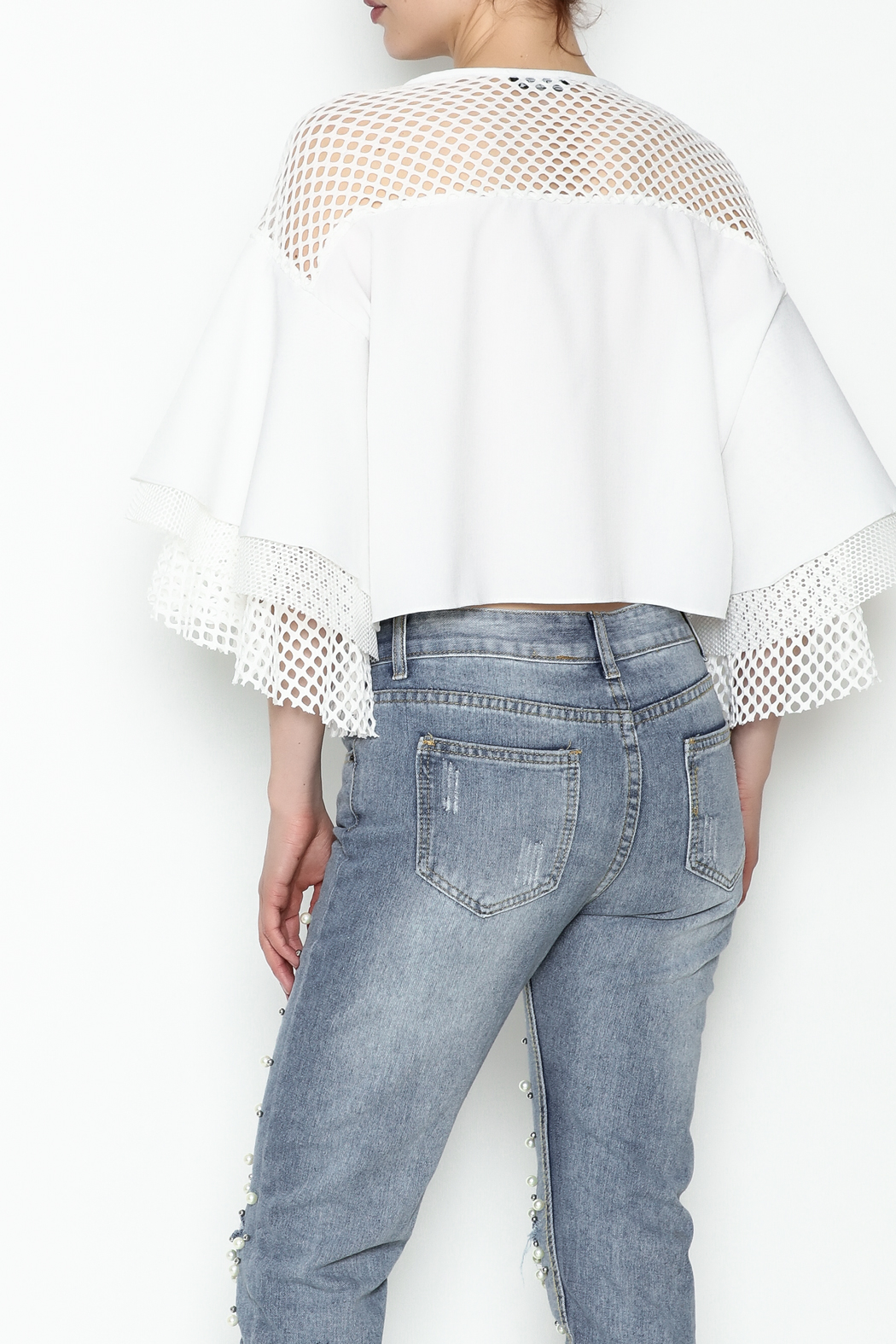 cq by cq White Netted Top - Back Cropped Image