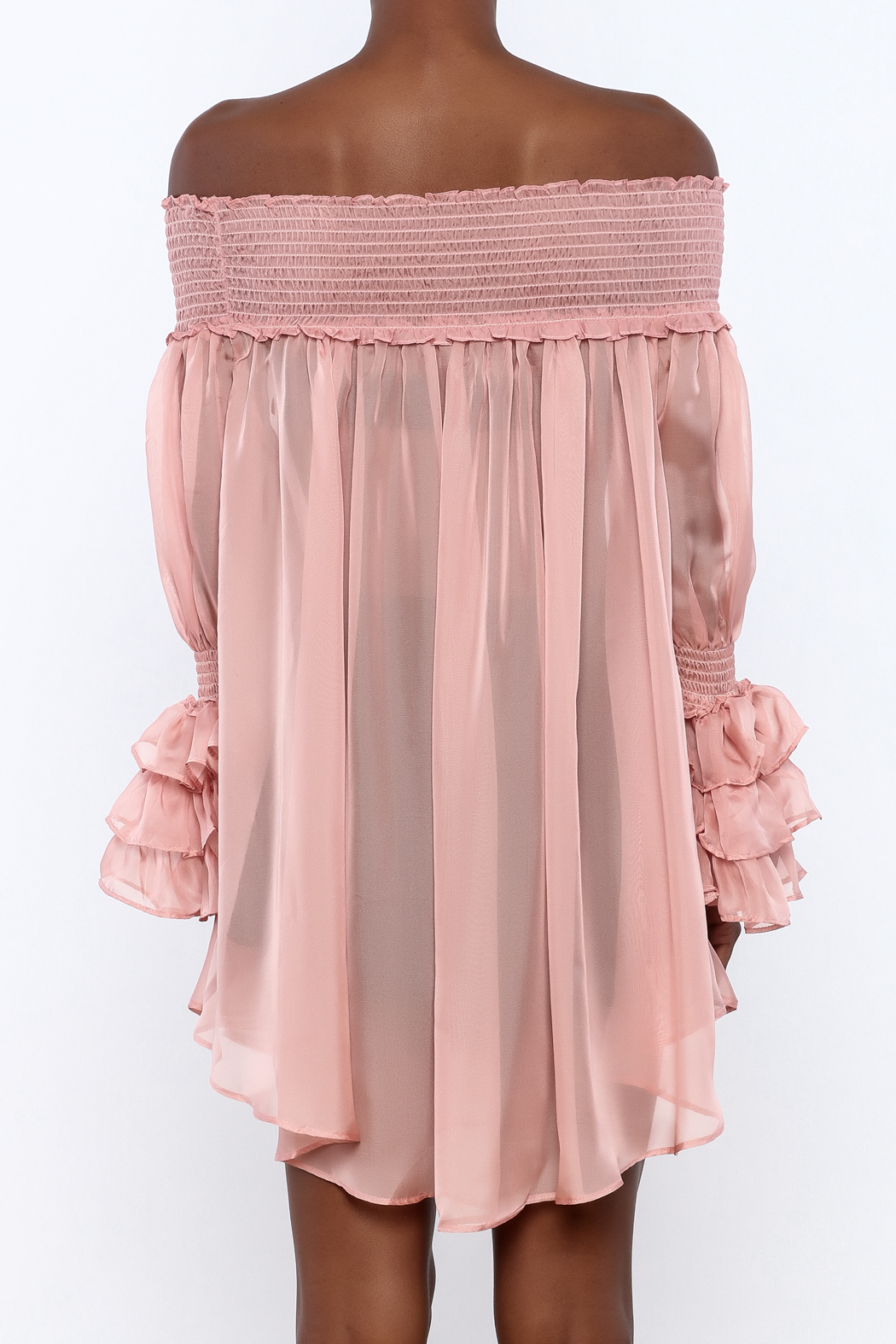 cq by cq Sheer Off Shoulder Top - Back Cropped Image
