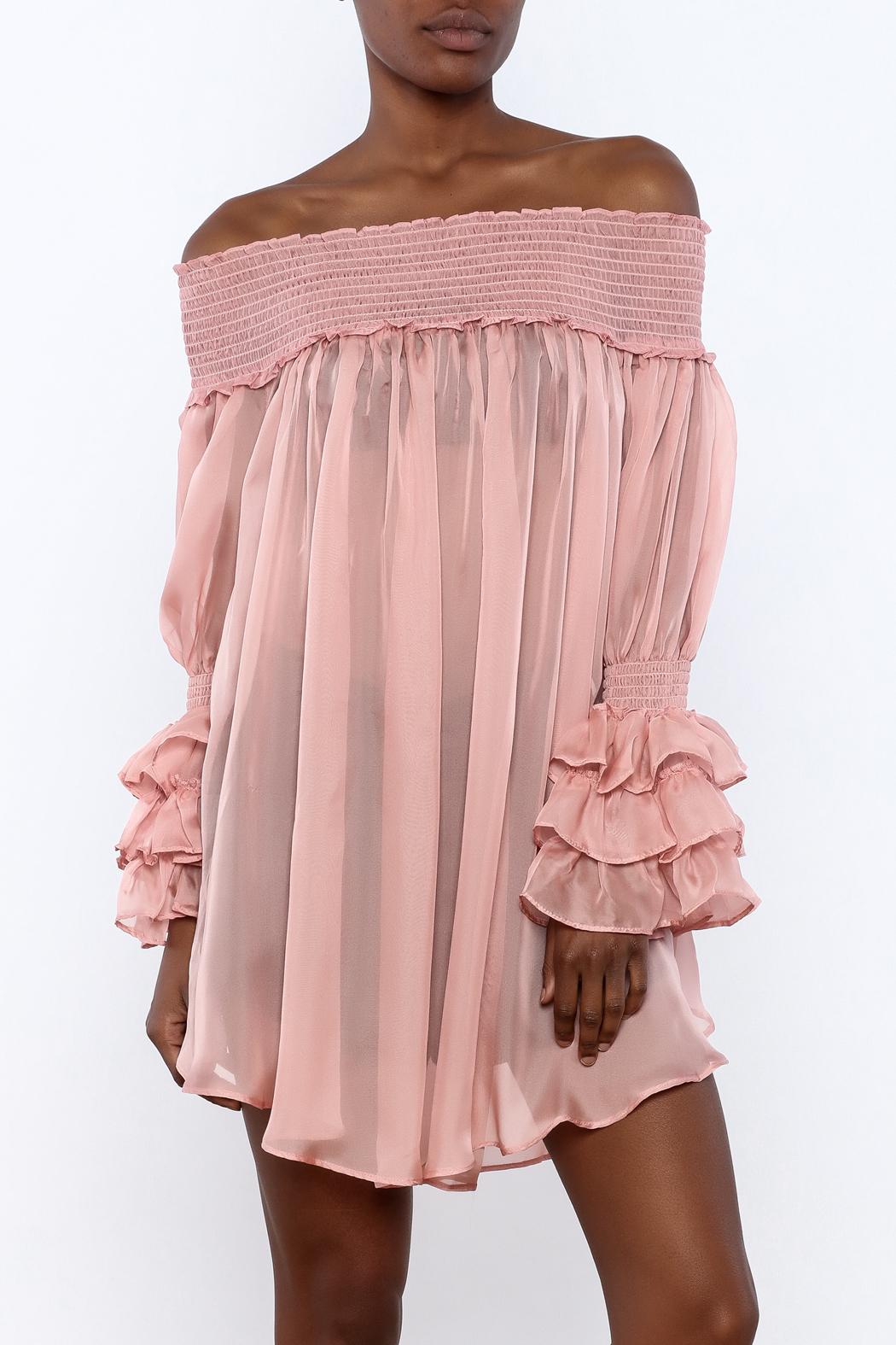 cq by cq Sheer Off Shoulder Top - Front Cropped Image