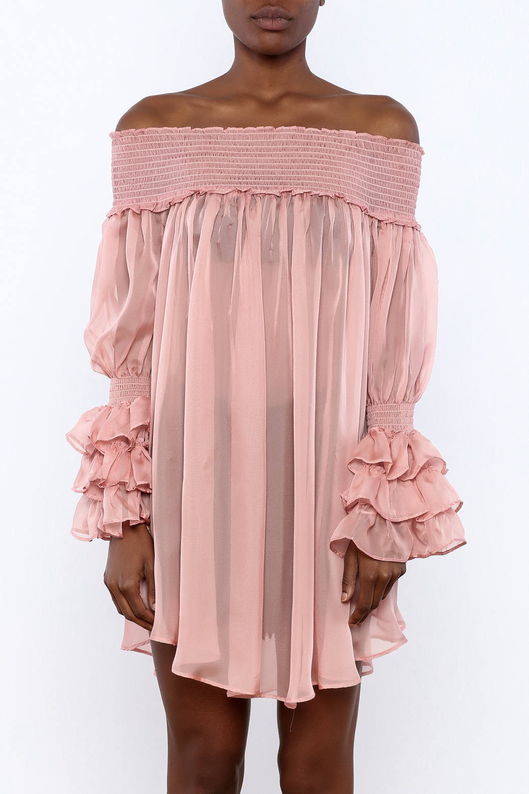 cq by cq Sheer Off Shoulder Top - Side Cropped Image