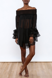 cq by cq Sheer Off Shoulder Top - Front full body