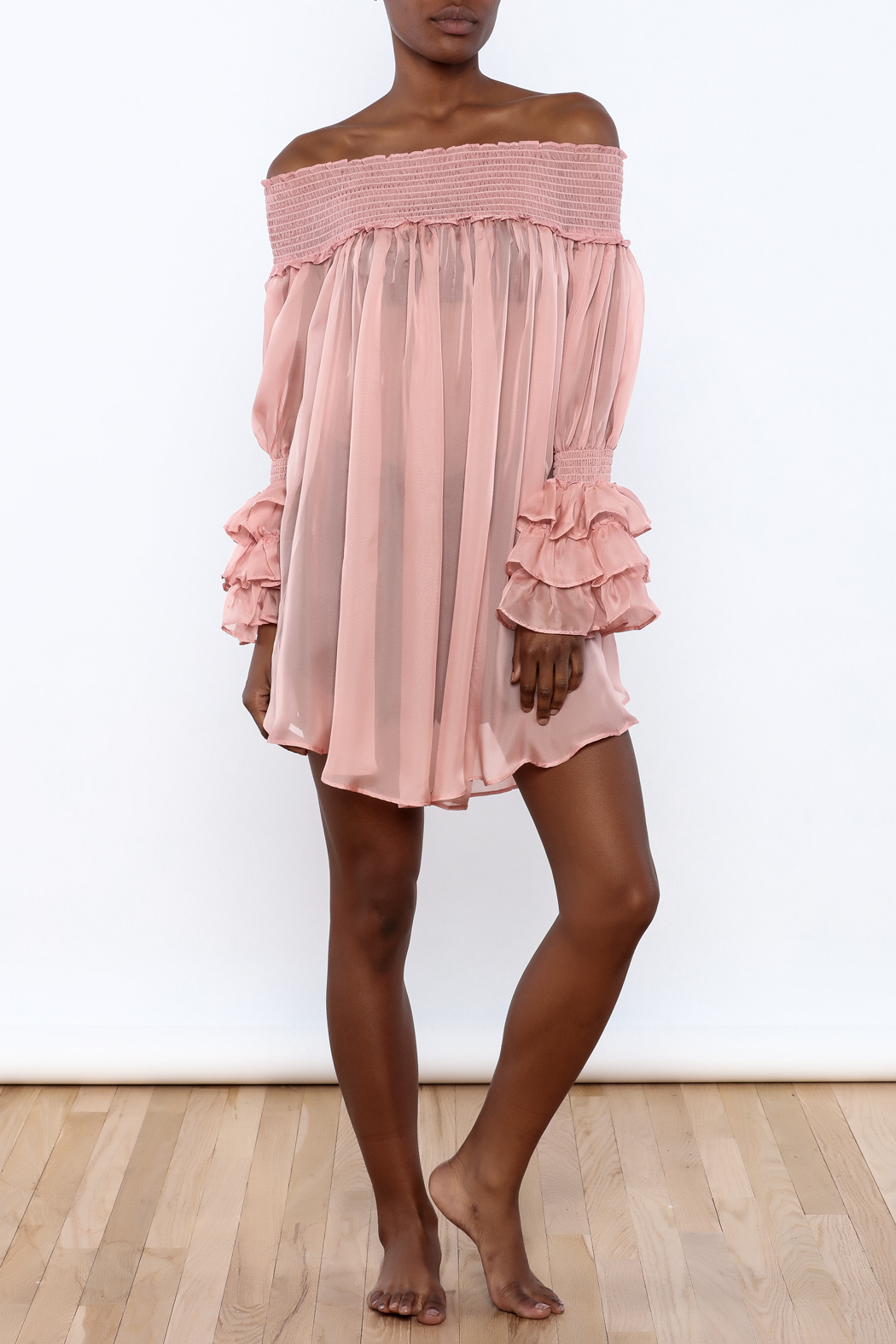 cq by cq Sheer Off Shoulder Top - Front Full Image