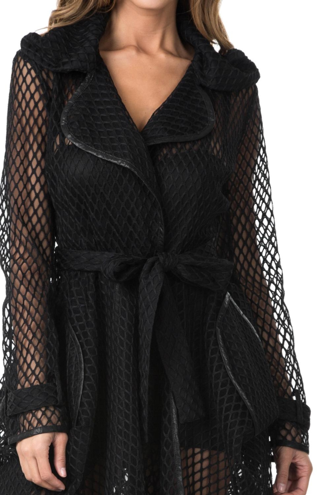 cq by cq Black Mesh Jacket - Back Cropped Image