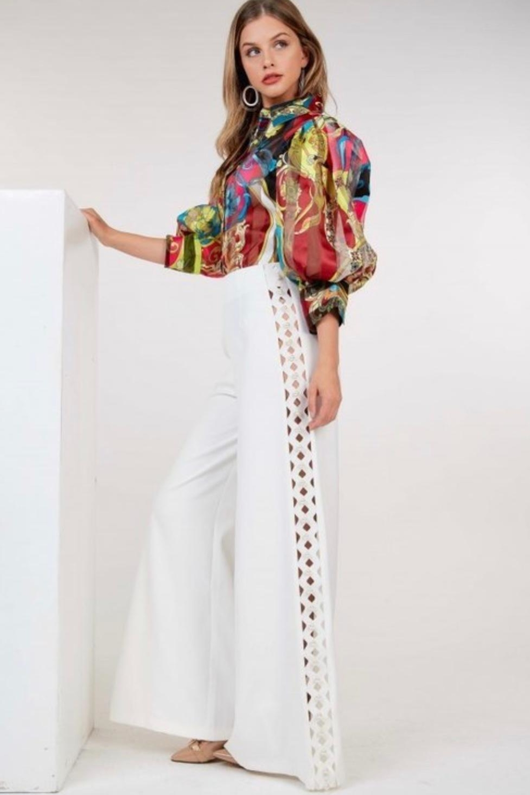 cq by cq Pearl Wide Leg Pants - Side Cropped Image