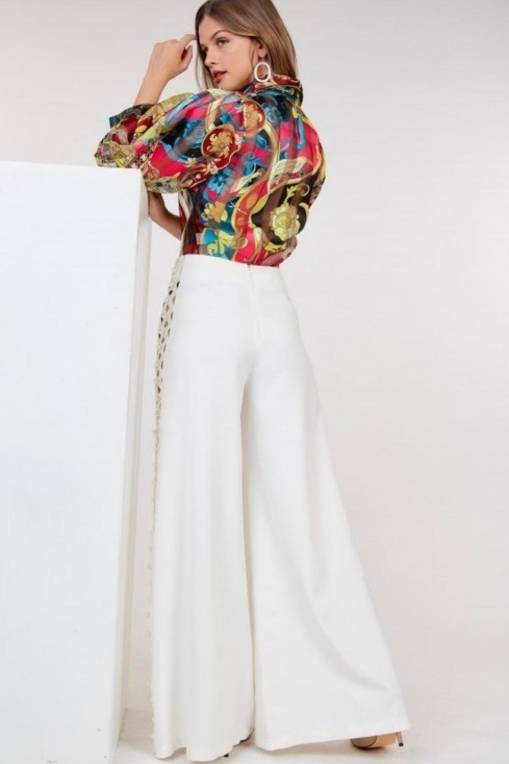 cq by cq Pearl Wide Leg Pants - Back Cropped Image