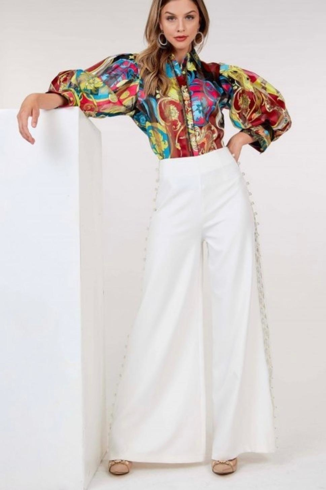 cq by cq Pearl Wide Leg Pants - Front Full Image