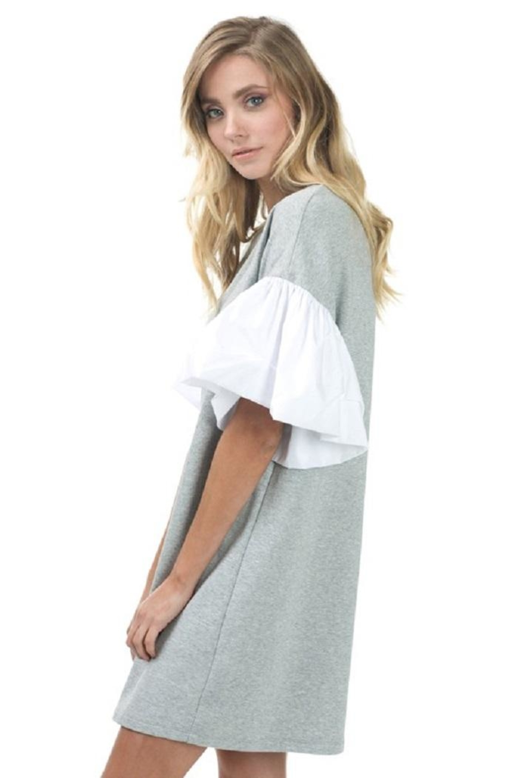 cq by cq Ruffle Sleeve Dress - Front Full Image