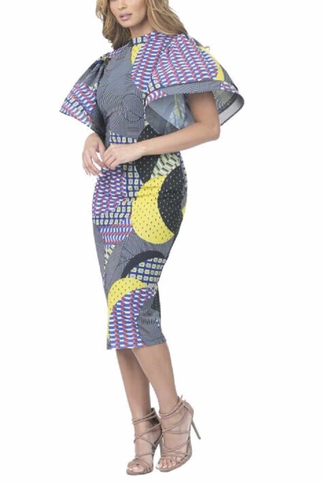 cqbycq Flair Print Dress - Front Cropped Image