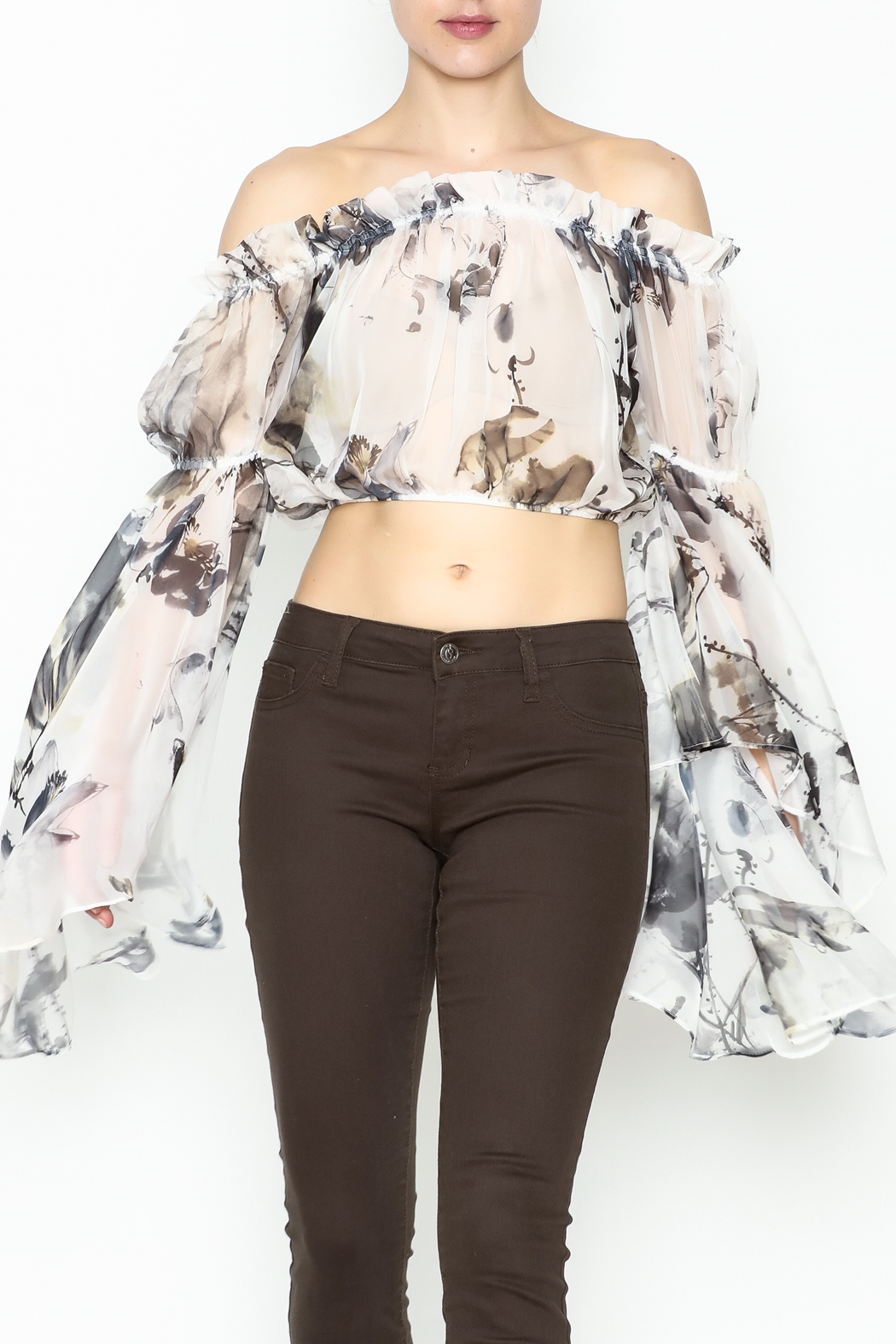 cqbycq Off Shoulder Crop Top - Front Cropped Image