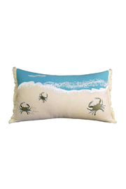 RIGHT SIDE DESIGN Crab with Waves Pillow - Indoor Cotton - Front cropped