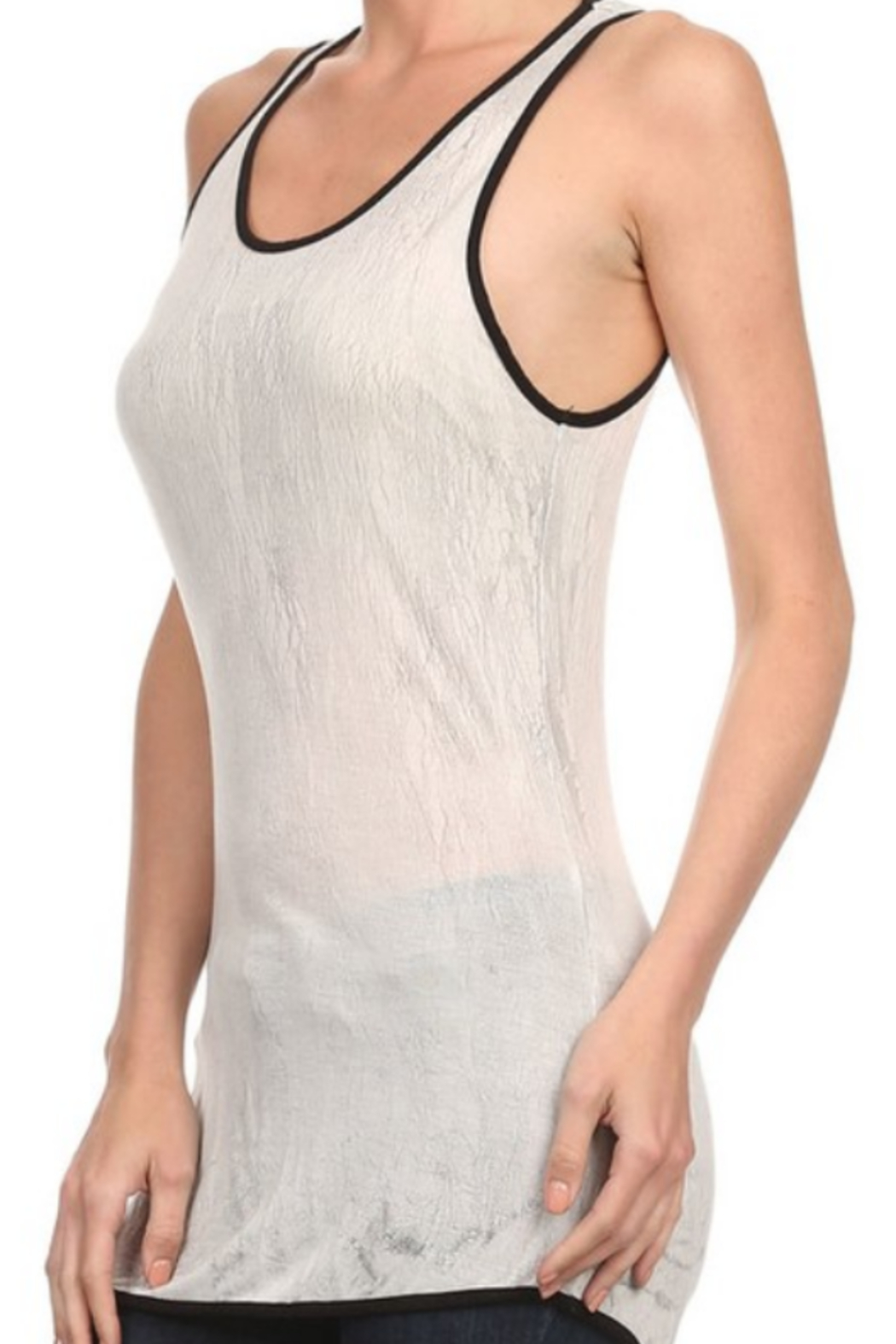 T Party Crackle Dye Silky Tank - Front Full Image