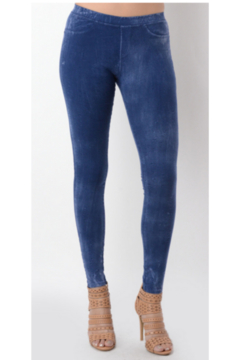 T Party Crackle Look Demin Blue-colored legging - Product List Image